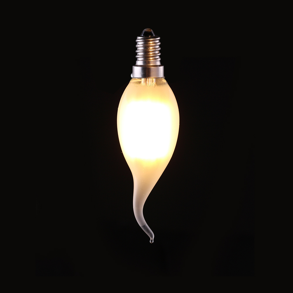 4W 6W,Retro LED Filament Bulb,C35T Frosted Flame Tip,E12 E14 Base,Warm White,Chandelier Decorative Lighting,Dimmable