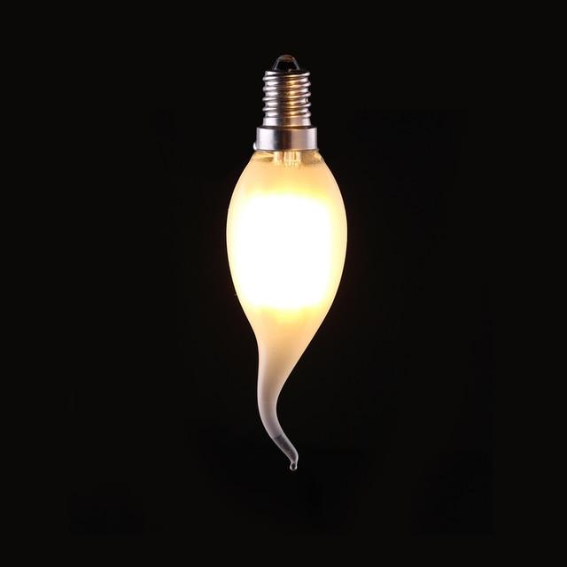 4w 6w Retro Led Filament Bulb C35t Frosted Flame Tip E12 E14 Base