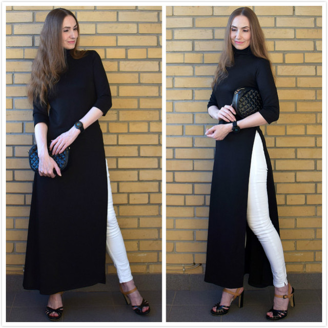 Women Fall Fashion Plus Size Dress Autumn Asymmetrical Turtleneck Pullover Fall Clothes Winter Oversize Maxi Long Dress Elegant 2