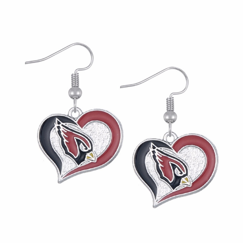 Latest 5 Pairs Enamel Heart Arizona Cardinal Logo Charm Earring Football Football Team Drop Earrings