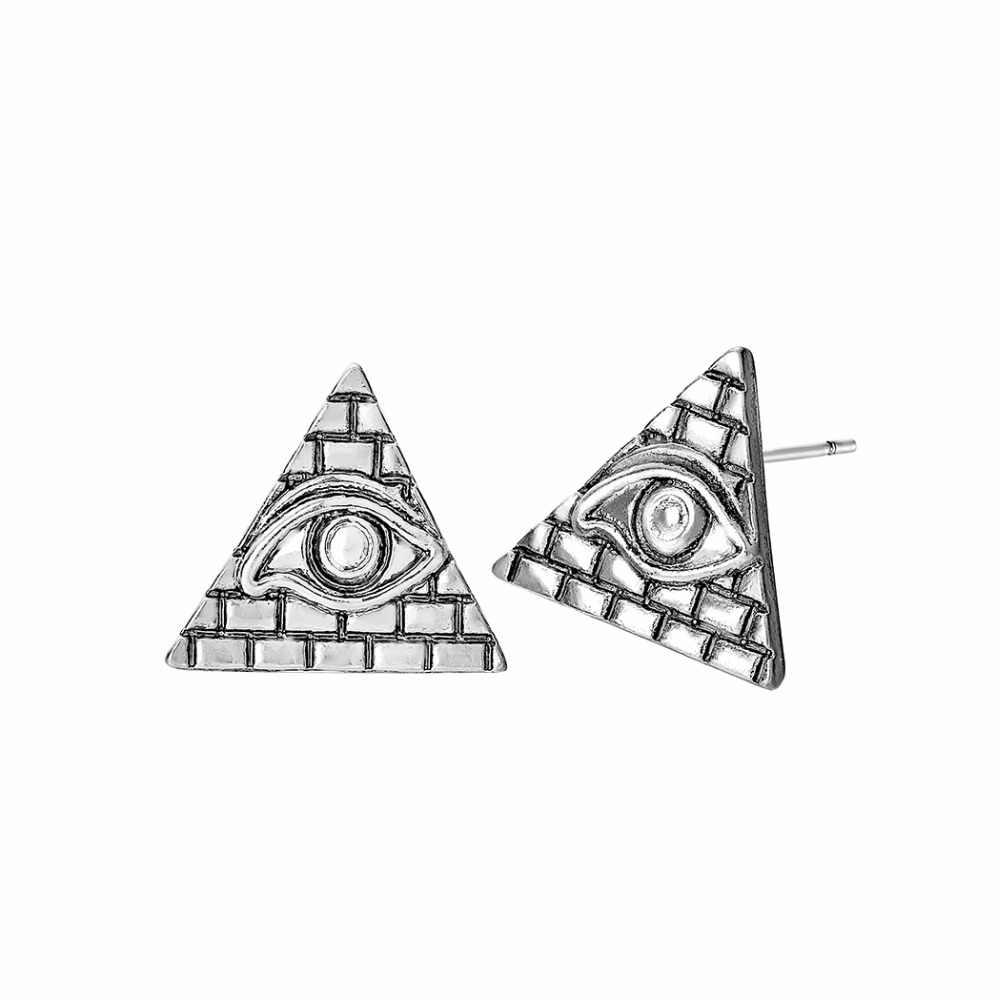 Antigo Egito Pirâmide Stud Earrings Mulheres Jóias Vintage Símbolo Egípcio Antigo Triângulo Brincos Olho Mau Viking Jóias Men Presente