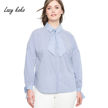 Lazy koko Plus Size Blouse Women Striped Cotton Tie Neck New Fashion Female Shirt Office Lady Bow Big Size Tops 3XL-7XL