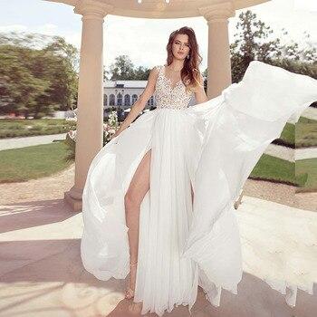 Eightale Sexy Wedding Dresses Boho Appliques Lace A-Line Wedding Gowns High Side Split Chiffon Bride Dress 2019 vestido novia