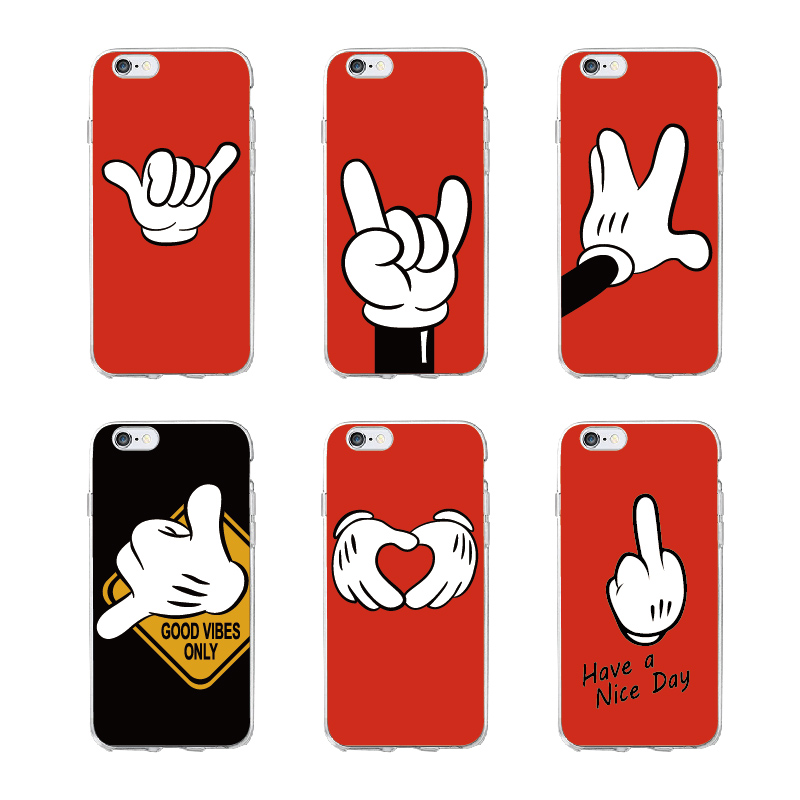 Mickey Mouse Hand Gesture Pattern Soft Clear Phone Case  Coque Fundas For iPhone5 6 7 7Plus 8 8Plus X XS Max SAMSUNG