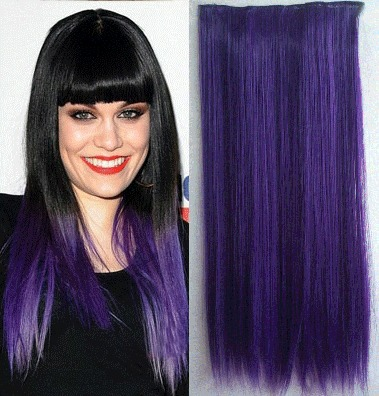 Purple synthetic ombre clip in hair extensions hairpieces colorful purple synthetic ombre clip in hair extensions hairpieces colorful hair two tones 24inch 120 5clips straight hair extentions on aliexpress alibaba pmusecretfo Images