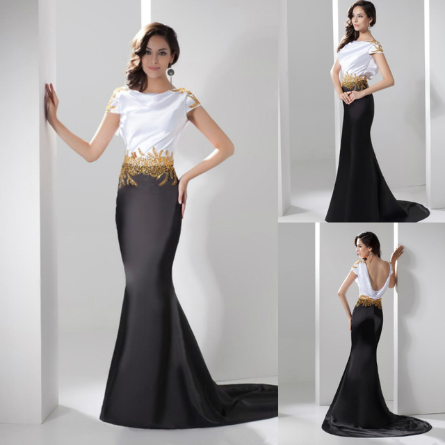 Mermaid White Black Satin Evening Gowns With Gold Beads Low Back ...