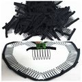 HARMONY Hair 100 Pieces 7-teeth black polyester cloth attached wig combs sewed into ponytail wigs combs insert wig clips