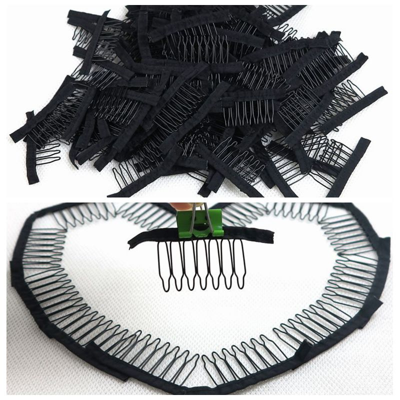HARMONY Hair 100 Pieces 7-teeth black polyester cloth attached wig combs sewed into ponytail wigs combs insert wig clips ...