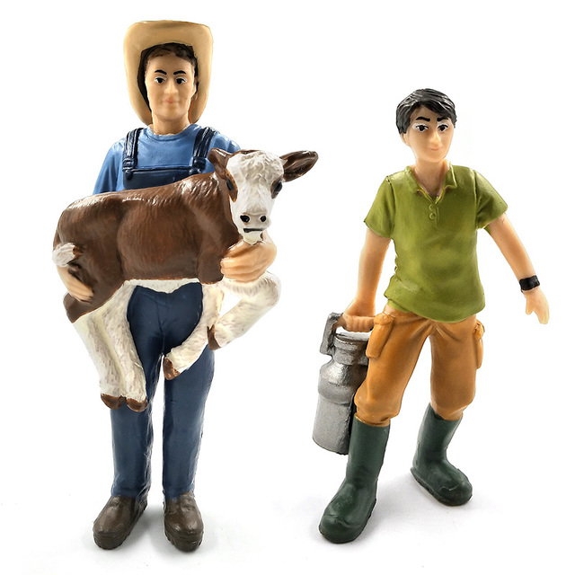 Simulation Farm hold dog sheep Cow pig Farmer people Model figurine miniature fairy garden home decor decoration accessories toy 3