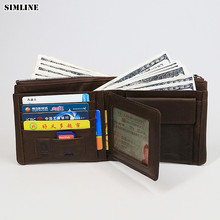 SIMLINE 2018 New Genuine Leather Men Wallet Male Short Cowhide Wallets Purse Card Holder With Zipper Coin Pocket Brand Designer new look minimalist men women wallet unisex male female coin purse pouch holder pocket simple casual designer short style canvas