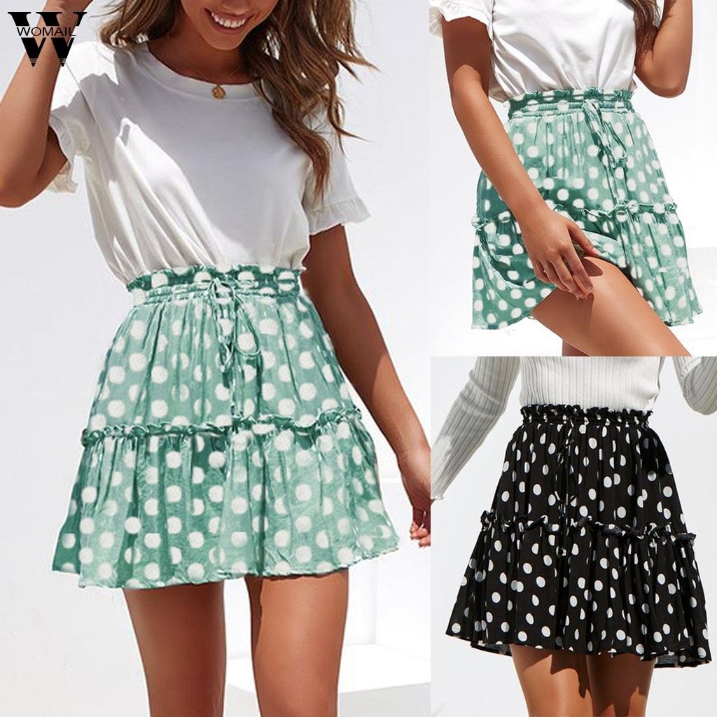 Women Dot Print Short Sleeve Dress Lace Summer Ruffles A-Line Lace-up