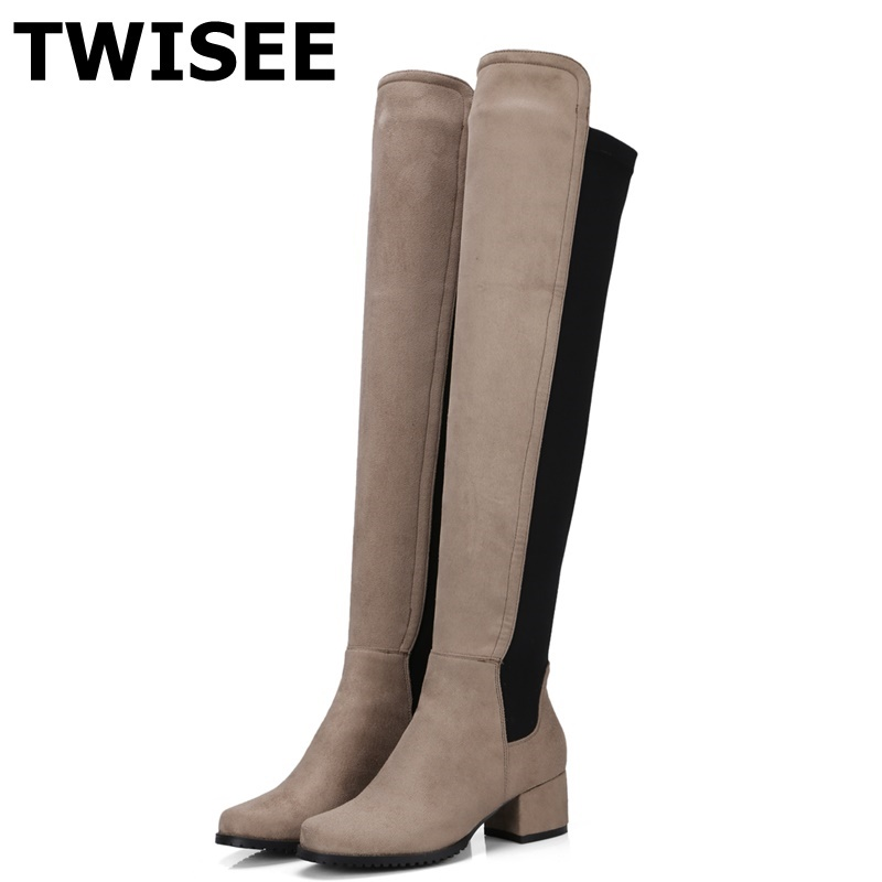 TWISEE Fashion Knitted Women Knee High Boots Elastic Slim Autumn Winter Warm Thigh High Boots Slip-On Woman Shoes Size 34-43 fashion women boots knee high elastic slim autumn winter warm long thigh high knitted boots woman shoes or935432