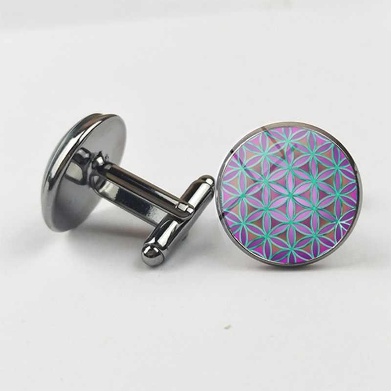 SUTEYI Fashion Mandala Flower Of Life - Gold Light Pink Purple Classic Round Gray Cufflinks Glass Cabochon Cufflinks Jewelry