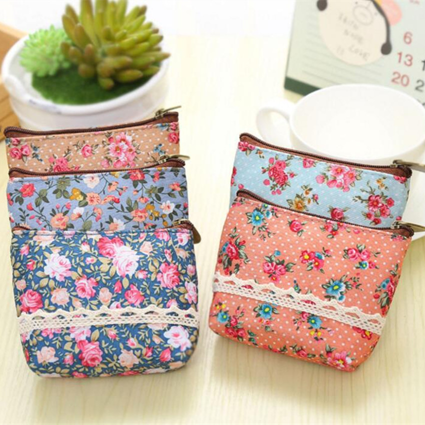 M181 Cute Women Purse Small Flower Elegant Mini Coin Purse Headset Flowers Pencil Bag Girl  Women Student Gift Wholesale