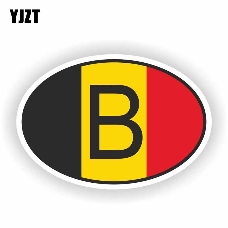 YJZT 13.2CM*8.8CM Car Sticker B BELGIUM Country Code Creative Decal PVC 6-0242