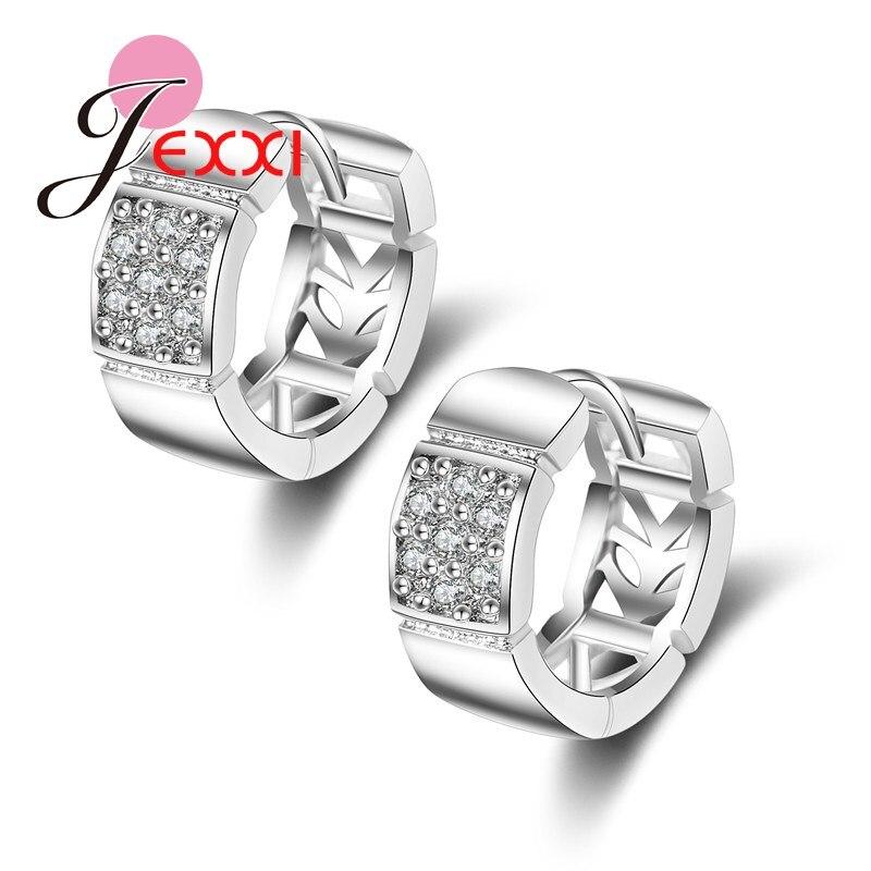 JEXXI CZ Diamond White Gold Plated Hoop Earrings Top Sale New Fashion Vintage Hoop Earrings Wedding Silver Jewelry Free Shipping