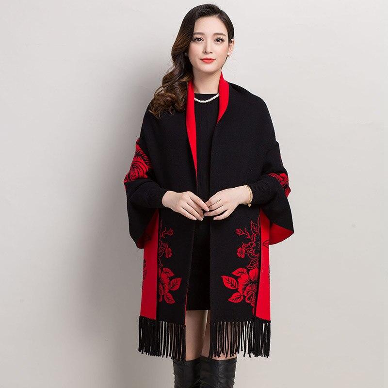 พู่ยาวคาร์ดิแกนจีนคลาสสิกเย็บปักถักร้อยดอกโบตั๋นหญิงฤดูใบไม้ร่วงฤดูหนาวB Atwingแขนอบอุ่นถักถักผู้หญิงP Oncho-ใน คาร์ดิแกน จาก เสื้อผ้าสตรี บน   3