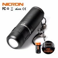 NICRON Mini LED Zaklamp Sleutelhanger 3 W USB Oplaadbare Compact Lamp Zaklamp Waterdicht 3 Modi Voor Huishoudelijke Outdoor etc