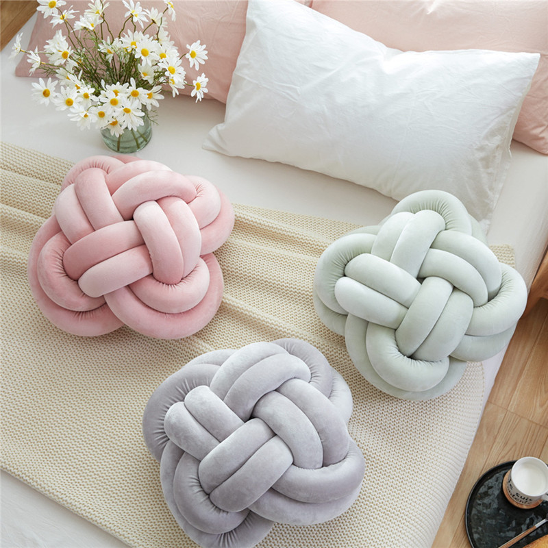 Home decor KNOT CUSHION brief Nordic style sofa cushion 40cm child seat grey bed pillow 25cm roundness home decor Velvet pink