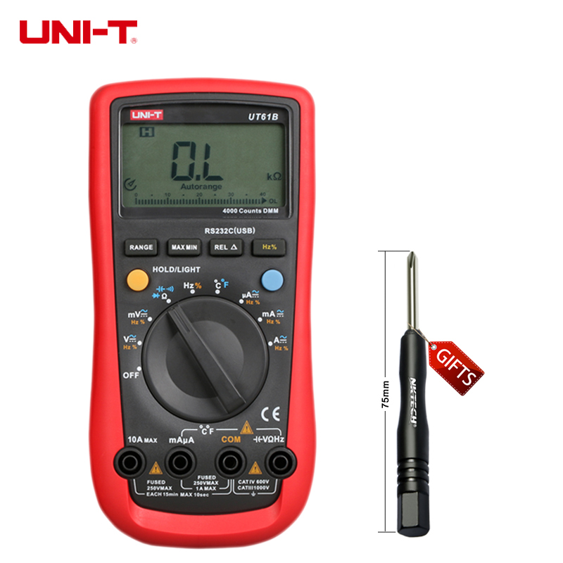 ФОТО UNI-T UT61B Modern Digital Multimeters with Large LCD Backlight Screen C/F Thermometer