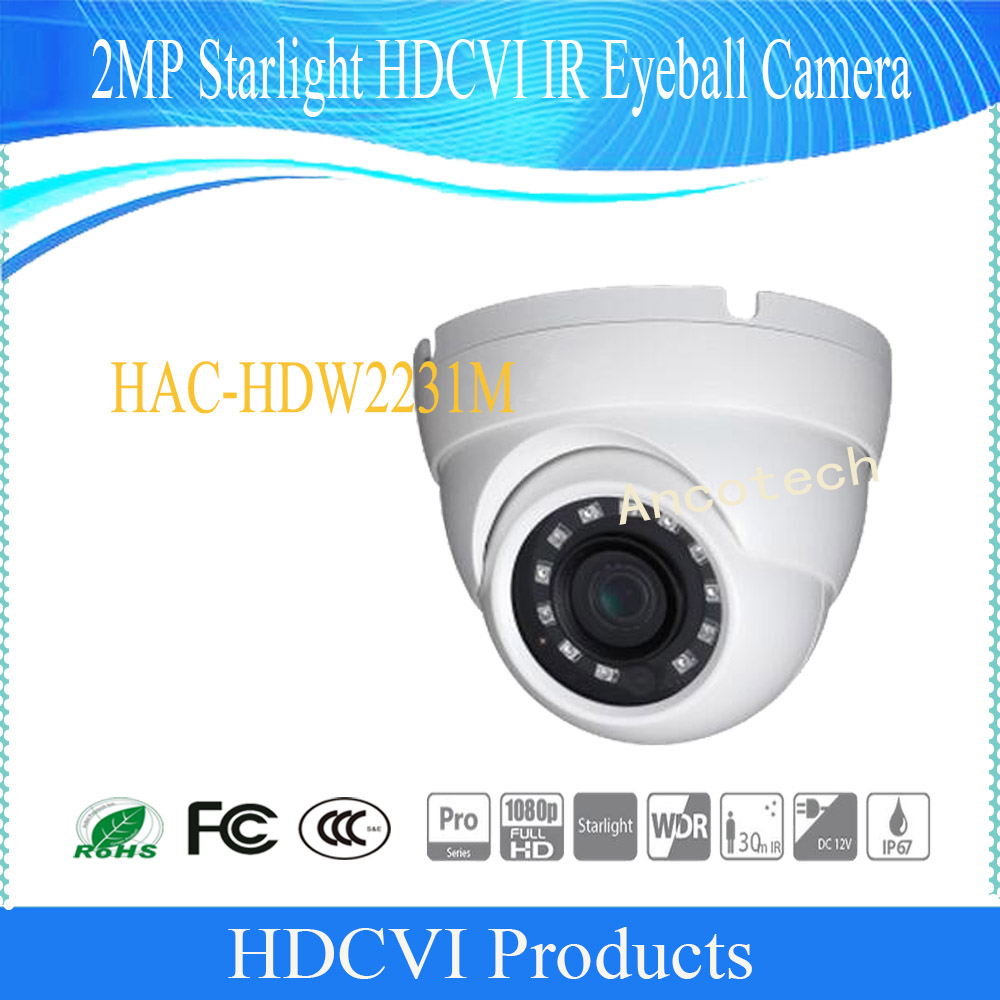 Free Shipping DAHUA CCTV Security Camera 2MP Starlight HDCVI IR Eyeball Camera IP67 Without Logo HAC-HDW2231M free shipping dahua cctv security camera 2mp hdcvi ir eyeball camera ip67 without logo hac hdw1220r vf