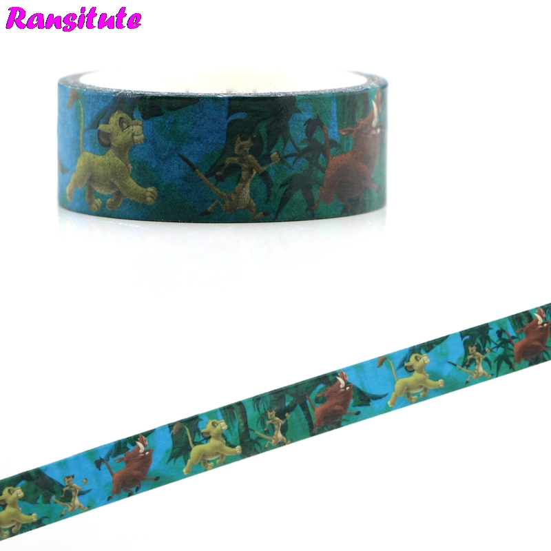 Ransitute R481 The Lion King Cartoon Children's Toys Washi Tape Traffic Tape Toy Car Decoration Detachable Hand Sticker