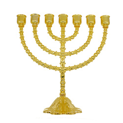 Authentic 11.5 Inch Brass Copper Menorah Vintage Candle Holder Judaica Israel