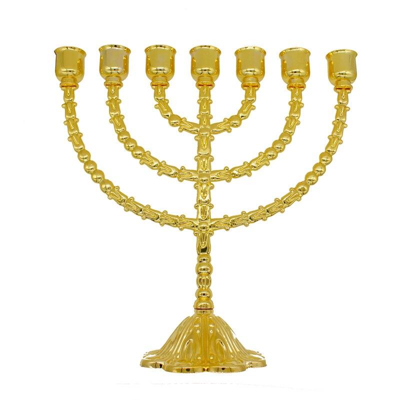 Takı ve Aksesuarları'ten Takı Ambalajlama ve Sergileme'de Pirinç Bakır 13 Inç Vintage Menorah Tutucu Judaica Jerusalem Hediye'da  Grup 1