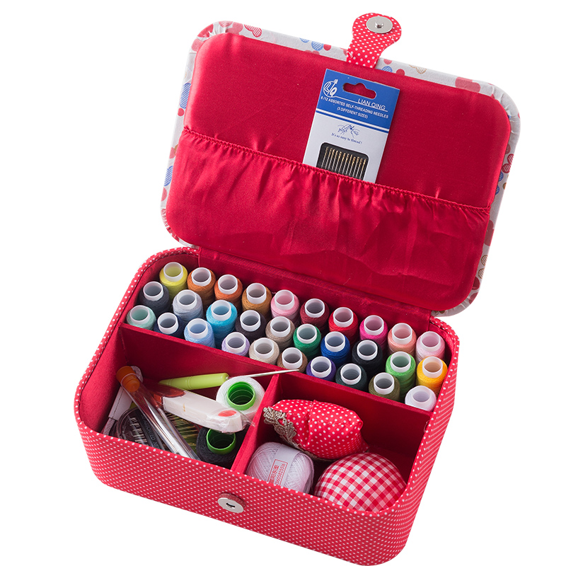 Home Accessories Wedding Fabric Sewing Box Wedding Dowry Sewing Kit 33 Stitching Needle Tape Scissor Multifunct Threads