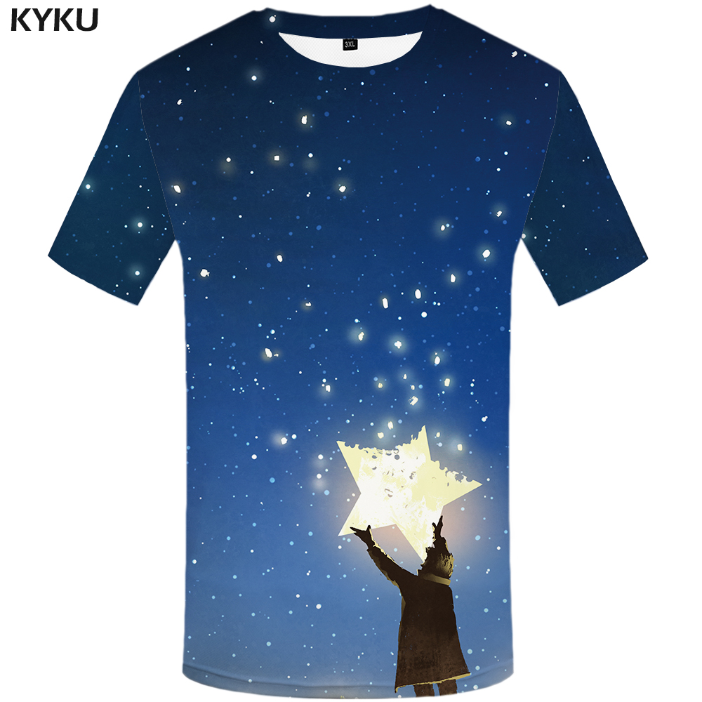 4378c68ea KYKU Brand Galaxy Space T shirt Men Star Anime Clothes Character Shirt Print  Cartoon Tshirt Printed