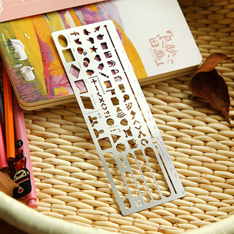 K36 1X Hollow Stainless Steel Drawing Picture Graffiti Template Ruler Study Stationery School Office Supply