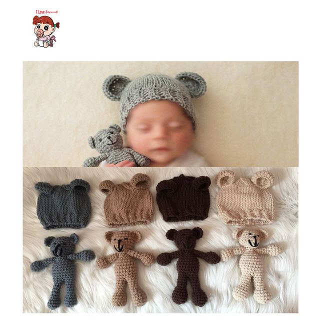 Cute set photography prop photo crochet bear and hand crochet knitted baby hat newborn photography studio