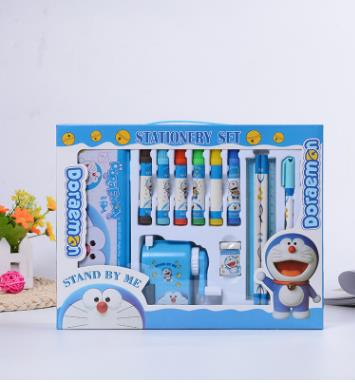 Creative watercolor pen Deluxe Portable stationery stationery pencil sharpener children 14 piece gift box children stationery set includes pencil case sharpener drawing pen chess scissors students stationery set as a gift for kids
