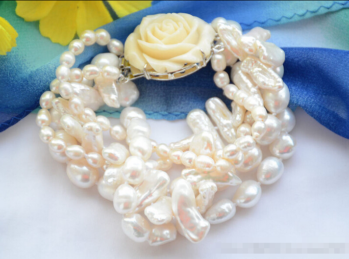 Z6450 5strands white rice baroque biwa freshwater pearl bracelet 8inch @^Noble style Natural Fine jewe SHIPPING new >>free shipp