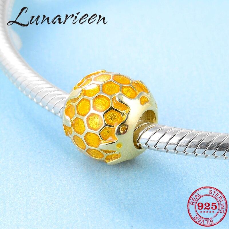 925 Sterling Silver Unique Round Golden Bee DIY Enamel Fashion Beads  Fit Original Pandora Charm Bracelet Jewelry Making