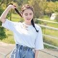 2017 Novo Verão Oco Para Fora a Letra Impressa Harajuku Sólida Curta-mangas T-shirt do sexo feminino Casual Tees Tops Roupas para Mulheres TS054