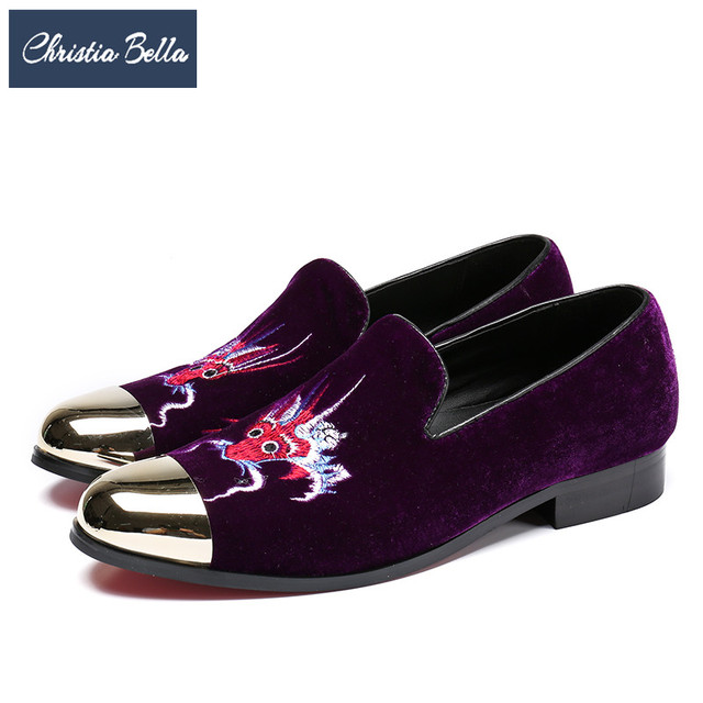 Christia Bella Fashion Men Loafers Embroidery Velvet Shoes British Prom Wedding  Dress Shoes Smoking Slippers Men Flats Plus Size 125ffbbd516d