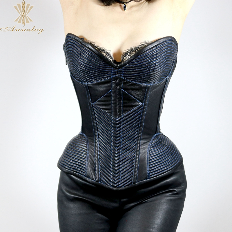 1147cfd29cb ... Annzley Top Quality Side Zipper Genuine Leather Steel Boned Overbust  Corset (4) ...