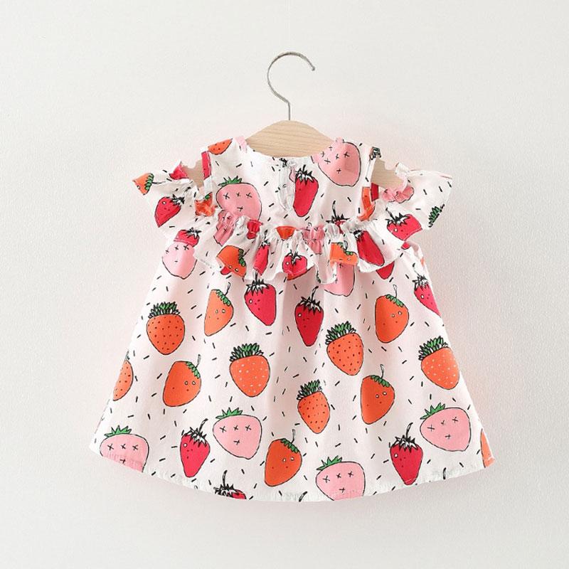 Summer Flower Newborn Toddler Fruit Cute Baby Girl Dress Princess Cotton kids 1st Birthday Casual Kids sleeveless Bow Dress