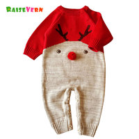 2017 Christmas 3D Reindeer Cute Newborn Infant Baby Girl Boys Romper Clothes Kid Knitted Jumpsuit Outfits