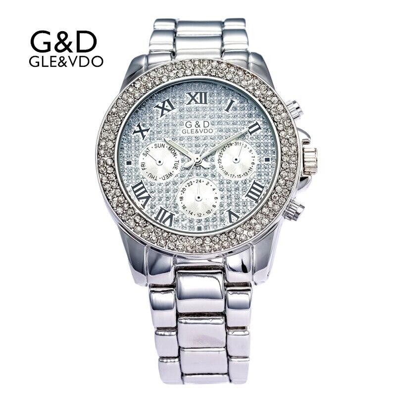 Relógios para Mulheres Prata Luxo Pulseira Relógios Womem Ladies Dress Ver Relógio Feminino Reloj Estilo Romano Mujer Presente 2020g & d