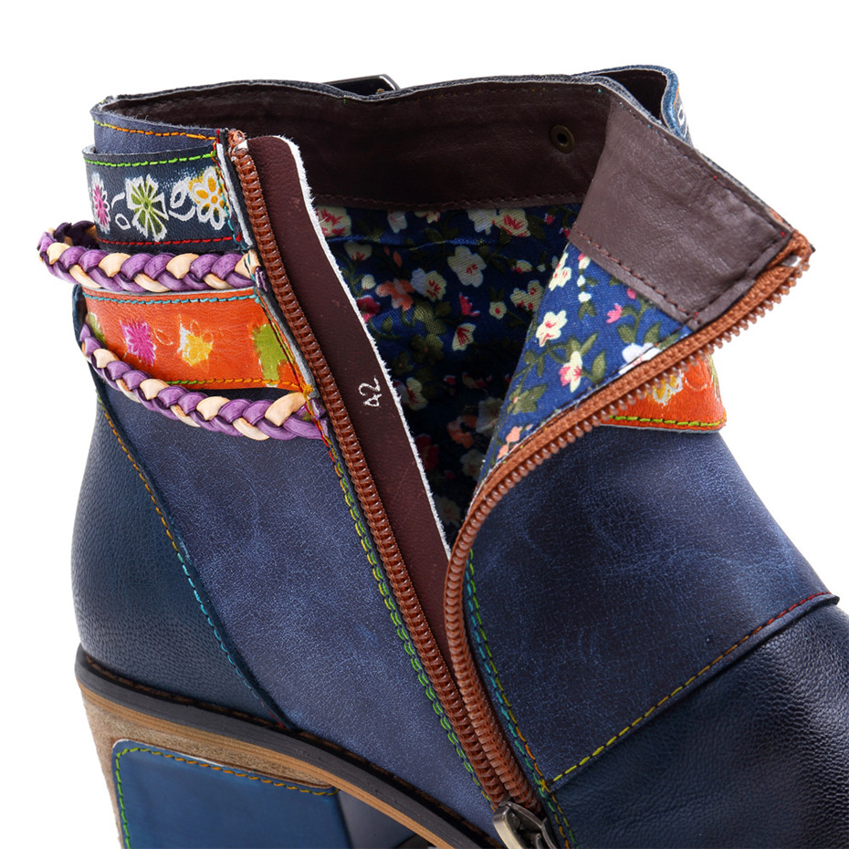 Vintage Bohemian Women Ankle Boots Shoes Side Zip Med Heels Ladies Shoes  Booties Genuine Leather Short Boots Shoe Woman (11)