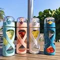 550 мл стеклянная бутылка для воды  спортивные бутылки для путешествий  крышка из нержавеющей стали с защитным силиконовым рукавом (синий  зе...