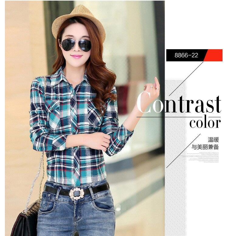 Blusa xadrez de flanela feminina, camisa casual