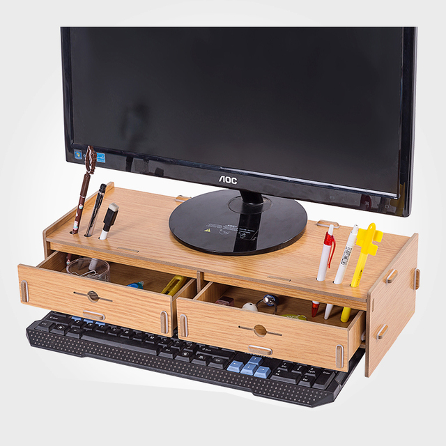 Desktop Monitor Stand Wooden Monitor Riser Tv Stand Double Drawer