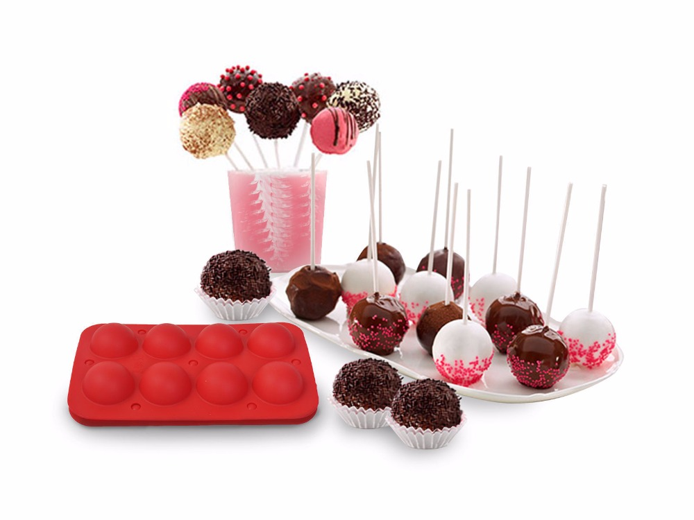 8 Cup Tasty Top Cake Pops Silicone Baking Pop Guide Flex Pan Mold