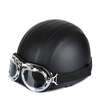 Hot Sell Men And Women PU Leather Harley Motorcycle Helmets Bicycle Helmets Open Half Face With