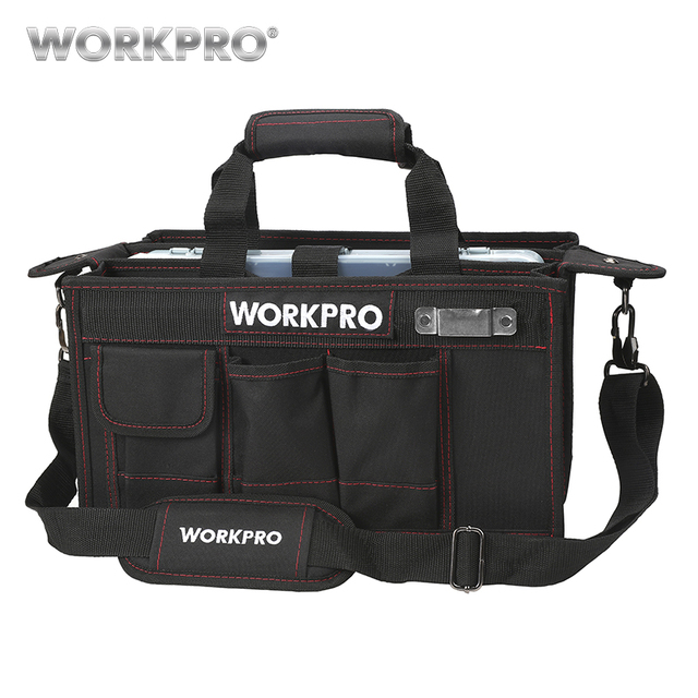 Workpro 600d Shoulder Tool Bag With Center Tray Waterproof Kits Bags Pockets For Electrican