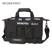 WORKPRO 600D bolsa de herramientas de hombro con bandeja central Kits de herramientas impermeables bolsas bolsillos para bolsas eléctricas