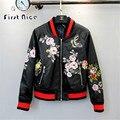 Mujeres Bomber Jacket 2016 Nueva Moda Otoño Invierno Bordado de La Flor de Imitación de Cuero Abrigo Estilo Amercian Lujo Negro Delgado Outwear